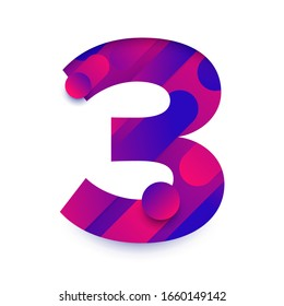 Number arabic 3 (three). typeface in abstract gradient background. Vector Illustrate.