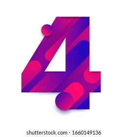 Number arabic 4 (four). typeface in abstract gradient background. Vector Illustrate.