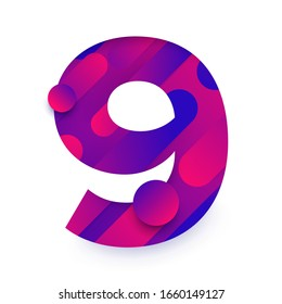 Number arabic 9 (nine). typeface in abstract gradient background. Vector Illustrate.