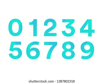 Number with blue sea and green gradien color