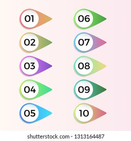 Number bullet point 3d gradient markers 1 to 10 Vector set