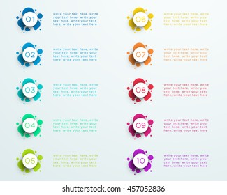 Number Bullet Point Abstract Splatter Circles 1 to 10
