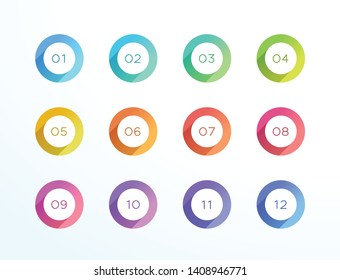 Number Bullet Point Circle Flat Shadow Icon Vector 12 Set