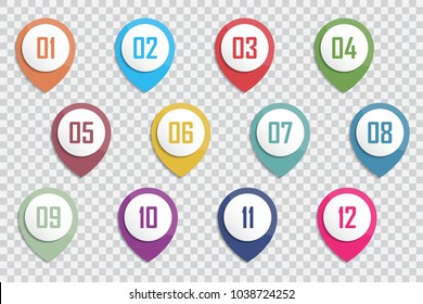 Number Bullet Point Colorful 3d Markers 1 to 12 Vector illustration.