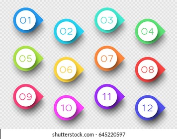 Number Bullet Point Colorful 3d Markers 1 to 12 Vector
