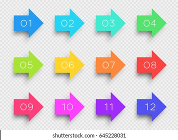 Number Bullet Point Colorful 3d Arrows 1 to 12 Vector