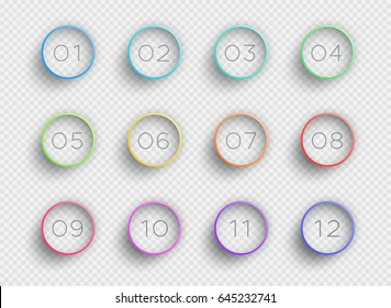 Number Bullet Point Colorful 3d Rings 1 to 12 Vector