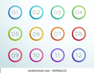 Number Bullet Point Cut Out Rings 1 to 12 Vector