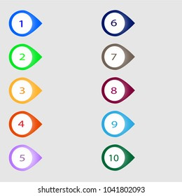 Number bullet point markers 1 to 10, vector illustration eps10