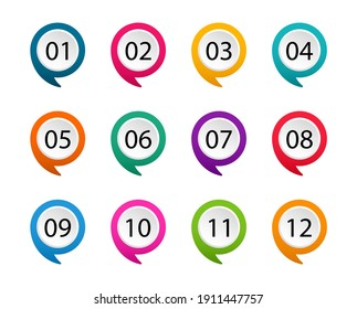 Number bullet point from one to twelve. Colorful markers. Modern flags points. Vector illustration.