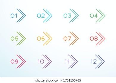 Number Bullet Point Outline Arrow Set 1 to 12