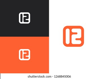 Number bullet point in square vector frame. 12 years anniversary pictogram icon, simple years birthday logo label. Happy greeting card for the 12th birthday. Rounded shape.