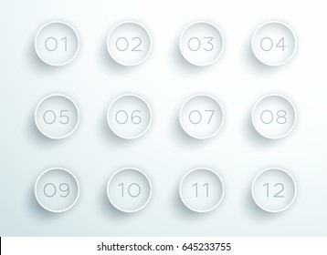 Number Bullet Point White 3d Rings 1 to 12 Vector