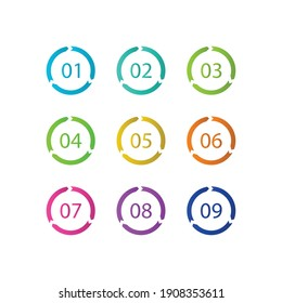 Number Bullet Points Flat Circle set on white background. Colorful color with number from 01 to 09 for your design. vector illustration