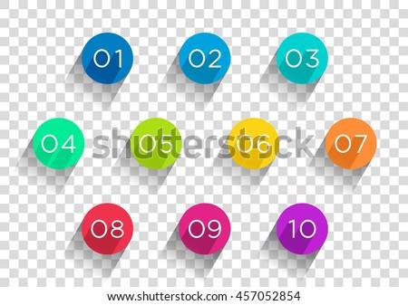 number bullet points flat circles transparent のベクター画像素材