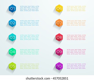 Number Bullet Points Flat Hexagons 1 to 10