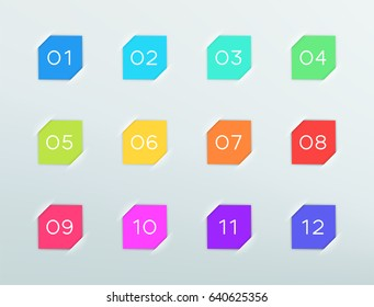 Number Bullet Points In Square Vector Frames 1 to 12