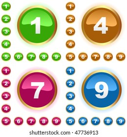 Number button. Vector set.