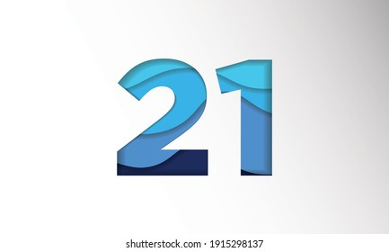 The number for the date in one-month Background Template. Holiday Vector Illustration of Paper Cut Number 21. The date in one-month Paper Cut Background Festive Poster or Banner Design