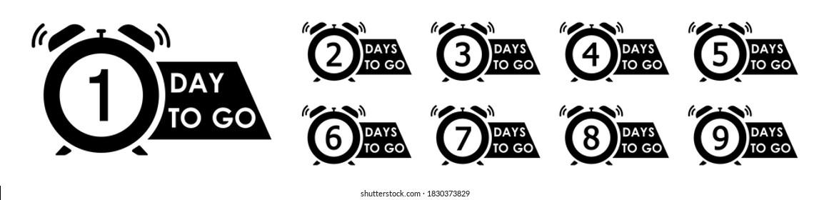 Number days left countdown, flash sale countdown badges sticker vector illustration