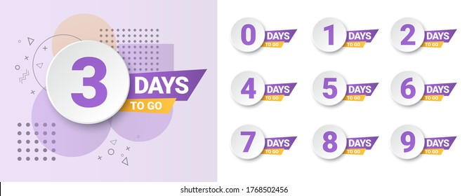 Number days left countdown. Days to go for promotion, sale, landing page, template, ui, web, mobile app, poster, banner, flyer. Vector set number countdown 0 to 9