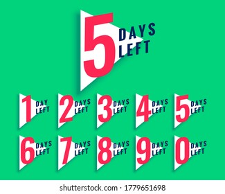 number of days left countdown template in triangle style