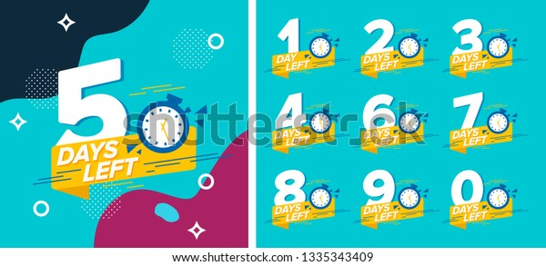 Number days left countdown vector illustration template
