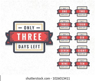Number of Days Left To Go Badges or Sticker Design