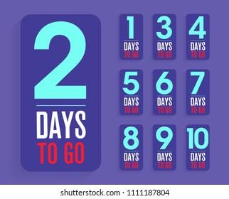 number of days left to go, badges or sticker design, flat vector design