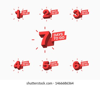 Number of days left to go countdown for sale, promotion, poster or banner. Simple flat illustration with 3d numbers.