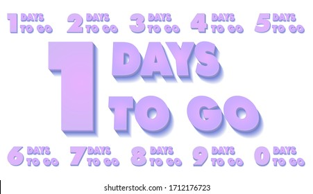 Number of days left to go countdown for sale, promotion, poster or banner on white isolated background.. Nine, eight, seven, six, five, four, three, two, one, zero days left. Lilac color. Vector.