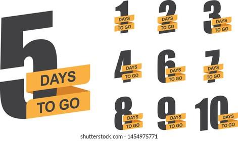 Number of days left to go. Set of vector emblems.