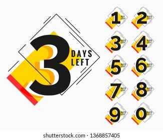 number of days left modern memphis style banner