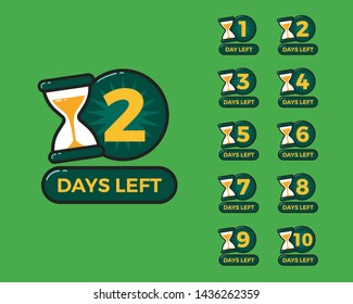 Number of days left with sand timer hourglass
