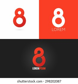 Number eight 8 logo design icon set background, red, black