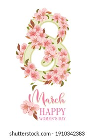 number eight entwined with sakura branches, postcard for March 8 and Mother's Day, congratulations on white background