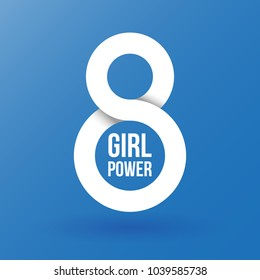 Number eight. Girl power. International Women's Day. 8 March. Flat design, vector illustration