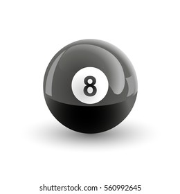 Number eight pool ball isolated illustration