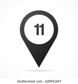 Number Eleven, 11 on map pin. Location pointer isolated on a white background. Conceptual vector illustration.