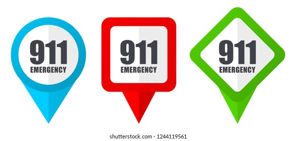 Number emergency 911 red, blue and green vector pointers icons.Set of colorful location markers isolated on white background easy to edit.