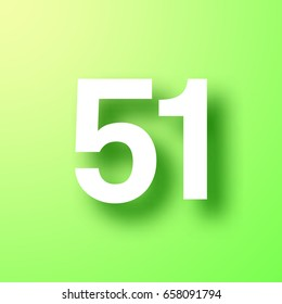 Number Fifty one 51 isolated on bright green background with shadow. Vector illustration, easy to edit.