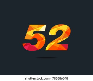 Number fifty two 52 Logo Icon, filled with geometric pattern. polygon letter. Vector Element.