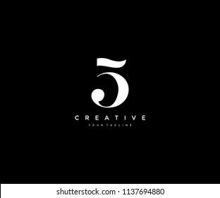 Number Five 5 Minimalist Elegant Logo Design