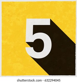 Number Five, 5 on retro poster with long shadow. Vintage sign with grunge effects. Vector illustration, easy to edit, manipulate, resize or colorize.