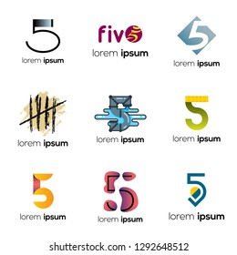 Number Five Abstract Vector Logo Design Template. Creative Numbers Concept Icon Set. Logo 5