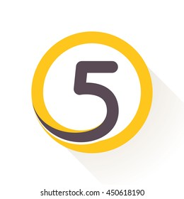 Number five logo in circle. Flat vector design for banner, presentation, web page, card, labels or posters.