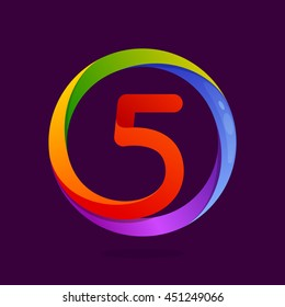 Number five logo in colorful circle. Vector design for banner, presentation, web page, card, labels or posters.