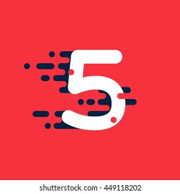 Number five logo with fast speed lines. Colorful vector design for banner, presentation, web page, card, labels or posters.