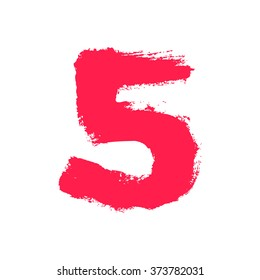 Number five painted with a dry brush. Hand drawn font. Vector grunge style design elements for use in posters or prints.