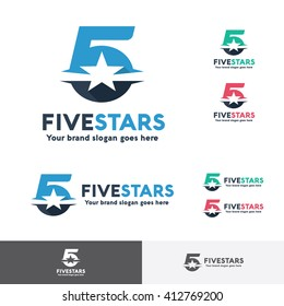 Number Five Star Logo Template